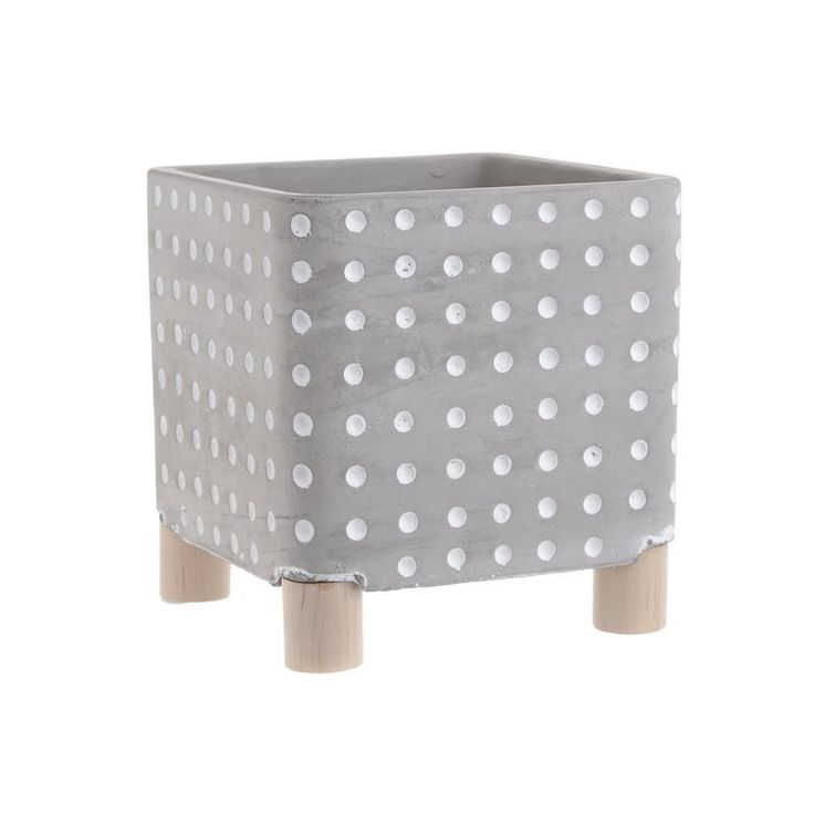CEMENT FLOWER POT IN GREY/WHITE COLOR 14Χ14Χ15 - inart