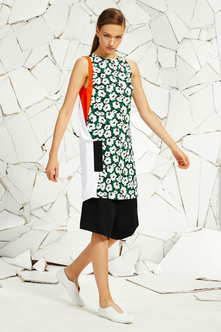 Black Small Poppy Cady Print Odile Dress, Black Floral Jacquard Tailoring Tomoko Shorts and White Alter Nappa Ballerina