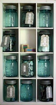 CRAFT ROOM ORGANIZATION & IDEAS ~love these old blue canning jars