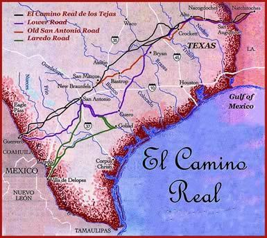 "Traveling Texas in the early days?  It was probably over one of these routes on El Camino Real, the ""king's highway"".  For a brief history, see: http://home.nps.gov/elte/historyculture/index.htmReal Maps, Los Tejas, Real De, Tejas National, Of The, Highroad, Texas Camino, The Way, Sam Houston"