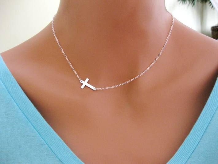 Side Cross Necklace Sterling Silver $45.99