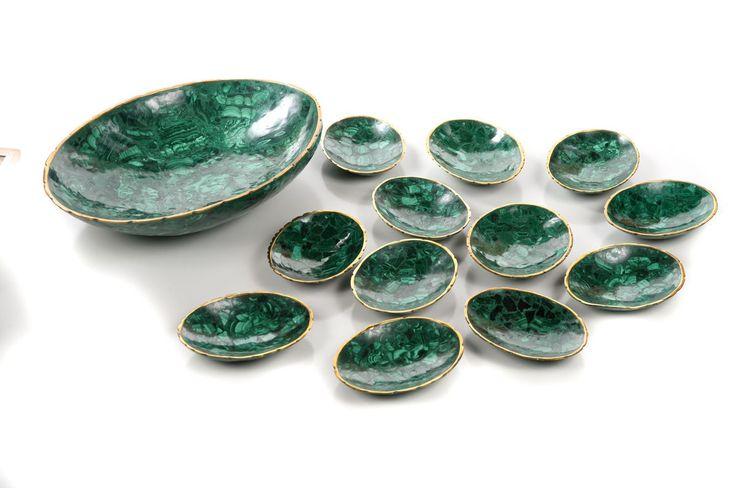 Natural Malachite & Bronze set of 13 Nut Bowls – ID# 2152 – $1,300.00 (FL) #antiques #malachitebowls