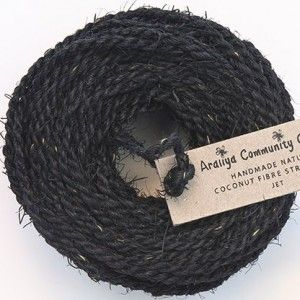 25m of handspun coconut fibre thick twine that is perfect to add a rustic touch to decorations and gift wrapping, or for general use around the house and garden. Handmade in Sri Lanker by Aralyia Community Company, a womens co-operative and traded under fair trade conditons. Black colour. 25m.