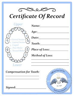 Toys In The Dryer--Minnesota Mom and Parenting Blog: Free Tooth Fairy Certificate Printable