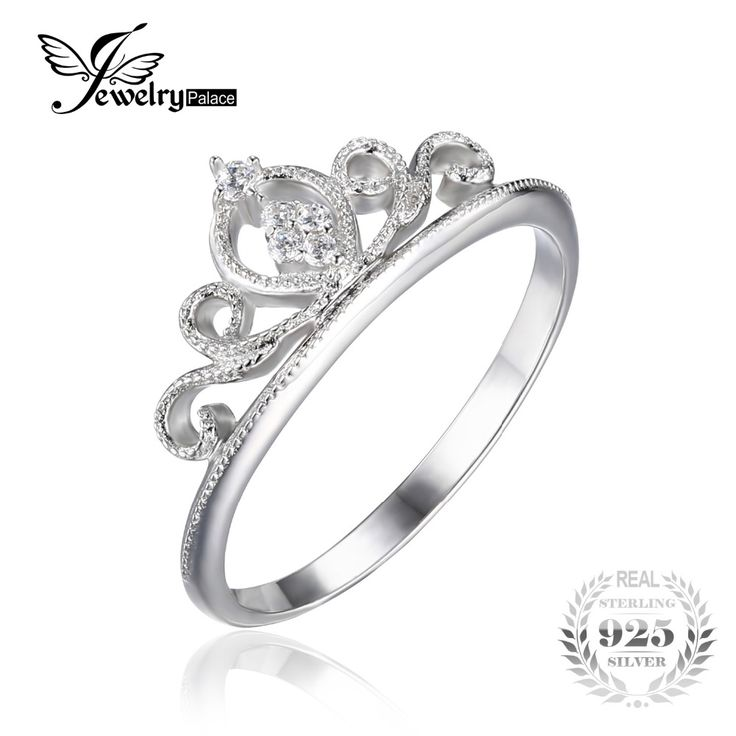 JewelryPalace Crown Round Anniversary Promise Engagement Ring For Women Real 925 Sterling Silver Wedding Jewelry