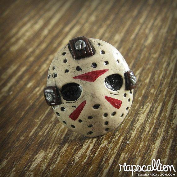 Jason+Voorhees+Mask+Inspired+Polymer+Clay+por+rapscalliondesign,+$24.00