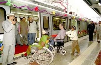 The facilities on the Delhi metro system are designed in such a way that they're easily accessible for #disabled commuters.  Other agencies involved with transportation in India should also consider incorporating accessible designs in their facilities.