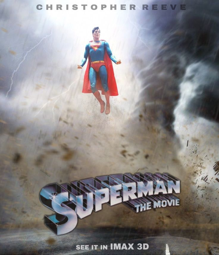 SUPERMAN; THE MOVIE. IMAX 3D Promotional Poster. 7 Inch NECA Superman Action Figure. Pic by Pacific Shatterdome. IG: pacific_shatterdome.