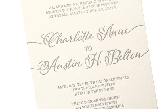 Grey Letterpress Wedding invitationby sofiainvitations on Etsy