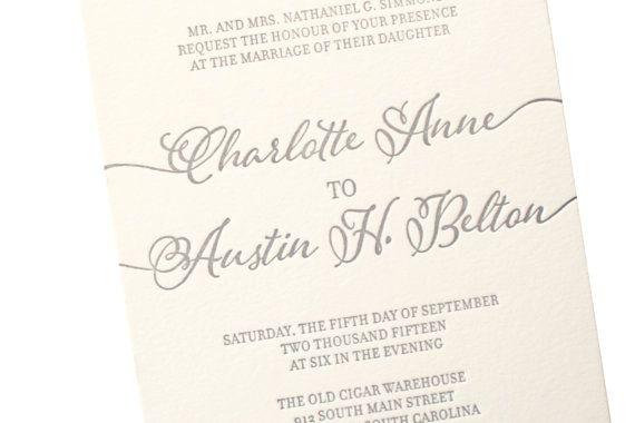 Grey Letterpress Wedding invitationby sofiainvitations on Etsy