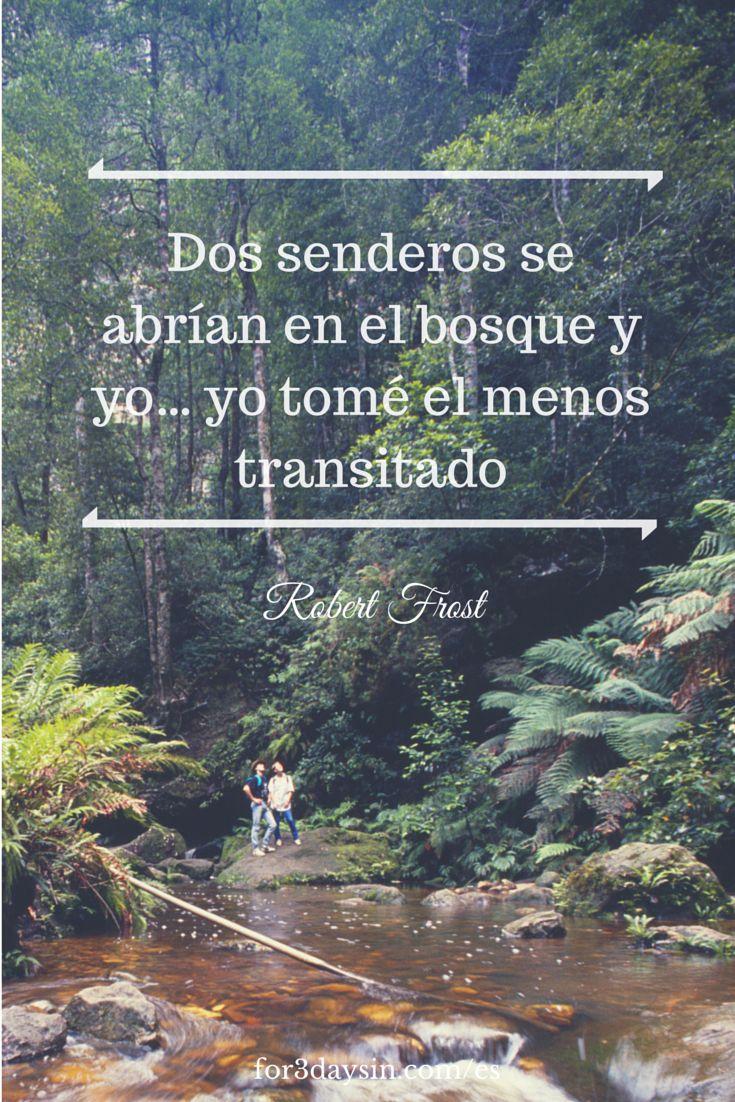 """Frases de viajes - """"Dos senderos se abrían en el bosque y yo… yo tomé el menos transitado"""". – Robert Frost  #viajar #viaje"""