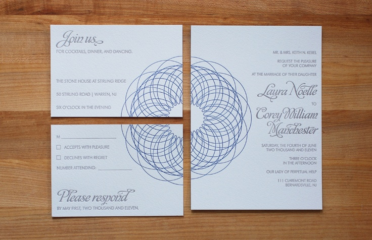 Spirograph invitation suite- two color letterpress with the  spirograph motif connecting the three pieces of the suite together.