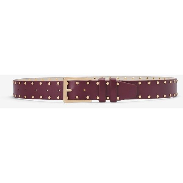 White House Black Market Studded Belt ($30) ❤ liked on Polyvore featuring accessories, belts, cabernet, wide buckle belt, wide belt, wrap belts, buckle belt and studded belt