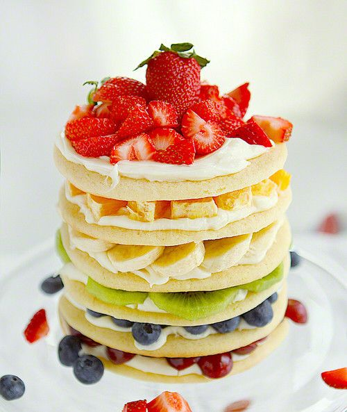 Pancakes! Take out the kiwifruit and I would love them... hideously allergic to kiwifruit... stops me breathing... which is oddly important to me :)
