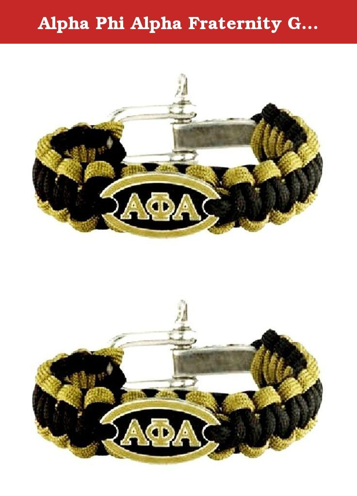 Alpha Phi Alpha Fraternity Greek Letters Survival Bracelet. Alpha Phi Alpha fraternity black, old gold survival bracelet. ALERT! Bracelet may be large for some people. Clasp is a secure, screw type clasp. I had no problems attaching the screw in clasp by myself. You many not be able to attach if you have arthritis or other problems. Length is 9.5 inches, largest setting, end to end including clasp, 9 inches on 2nd setting in clasp and 8.5 inches on smallest setting on clasp. Black and old...
