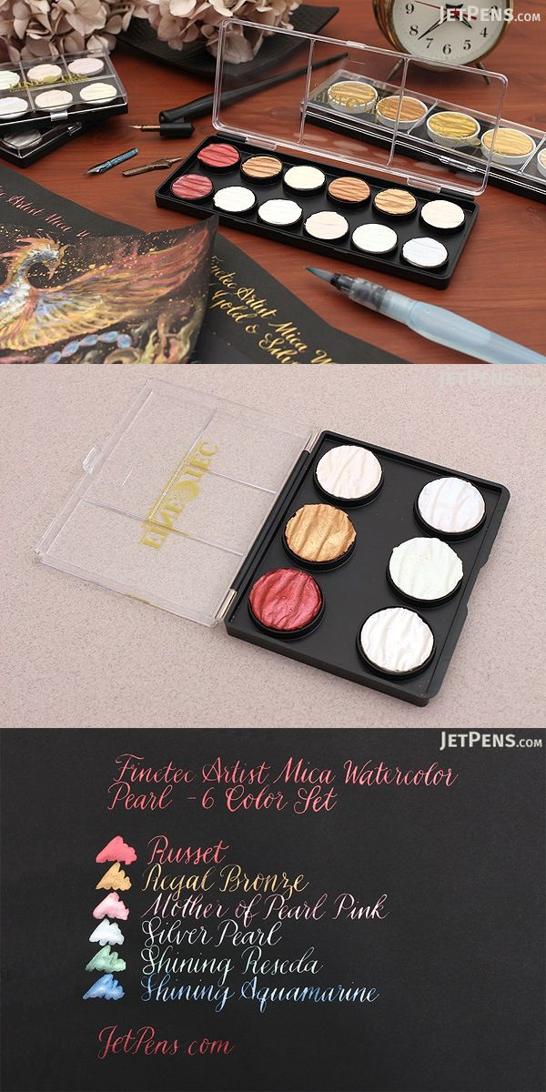 These high-quality gouache watercolors are made with mica, a natural mineral that gives them a lustrous, metallic sheen. They are great for adding highlights and special effects to watercolor or mixed media projects, as well as for calligraphy.