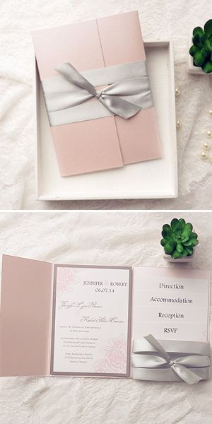 pink pocket and gray ribbon assembled elegant wedding invitation kits