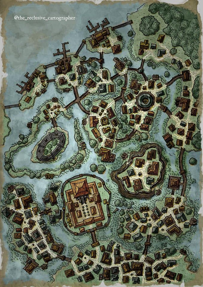The Swamp Town Of R Ozbog Hand Drawn And Coloured In Photshop Enjoy Dndmaps Fantasy City Map Dnd World Map Fantasy Map