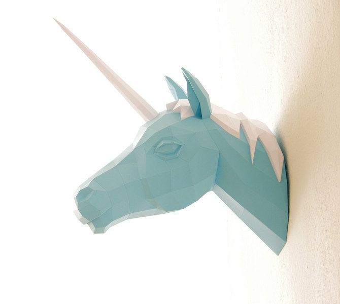Papercraft Unicorn Paper Trophy Number 2 Horn by PaperwolfsShop,$75.00 I love this but I would also need the mounting board to make it really work.