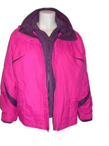 Womens Columbia Plus Size 3in1 Snowbird Slope Ski Jacket Coat Parka, Posey Pink, 2X-3X - Discount Ski Jackets