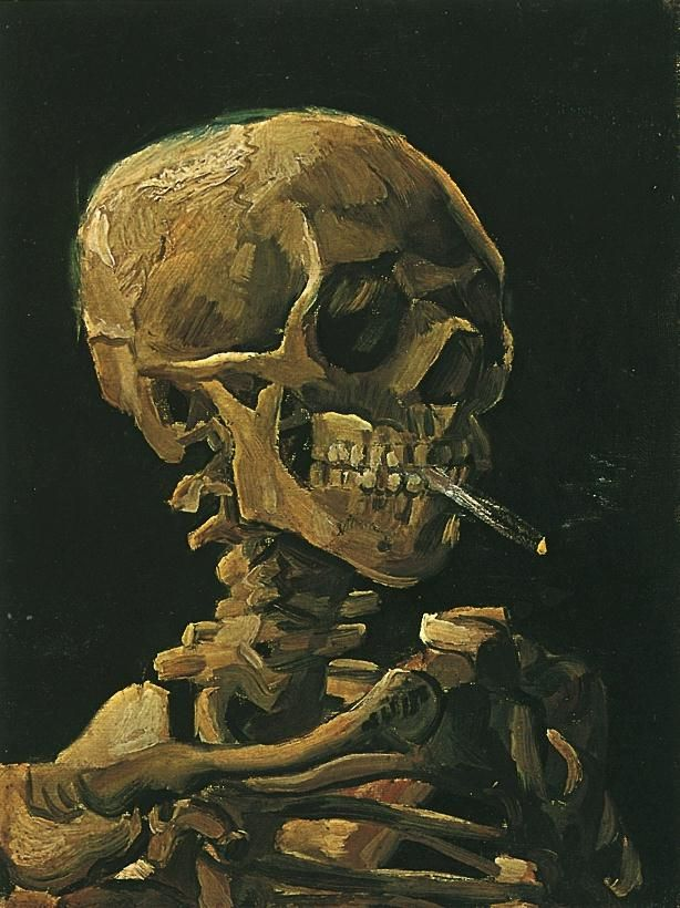 Skull with Burning Cigarette by Vincent Van Gogh.