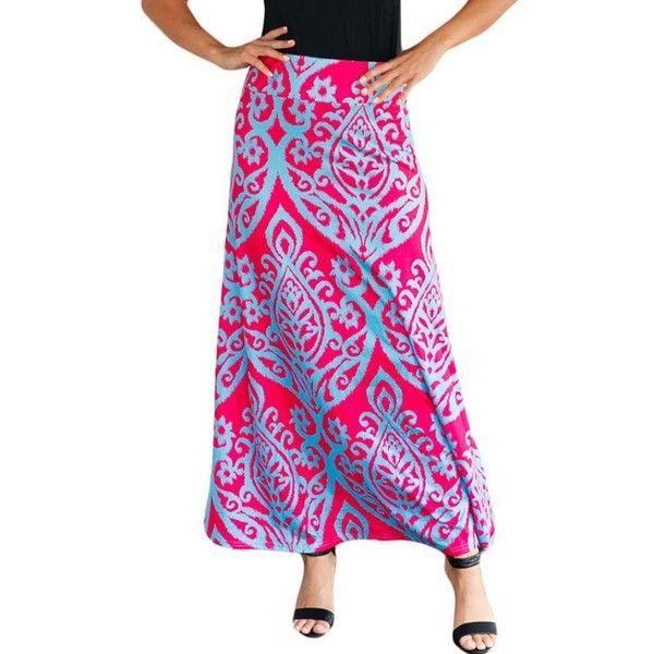 Fuchsia Tribal Print High Waist Boho Maxi Skirt ($28) ❤ liked on Polyvore featuring skirts, maxi skirts, high-waisted maxi skirts, bohemian maxi skirts, high-waisted skirt and tribal maxi skirt