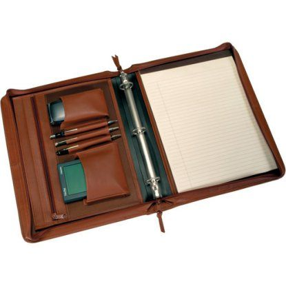 Royce Leather Executive Convertible Zip Around Binder Writing Portfolio in Genuine Leather with Optional Monogramming