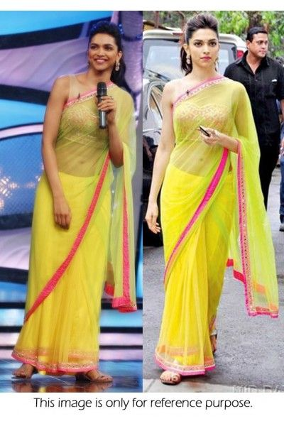 Bollywood Style Deepika Padukone Net Saree In Green Colour NC160