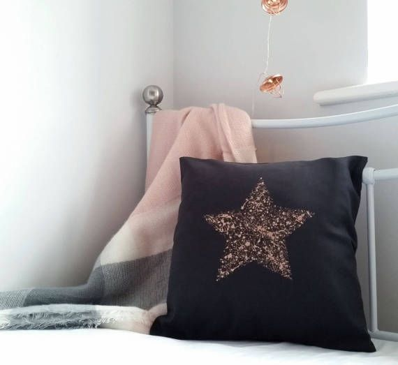 Hand painted complete cushion 'Splatter star', metallic <b>rose gold</b> ...