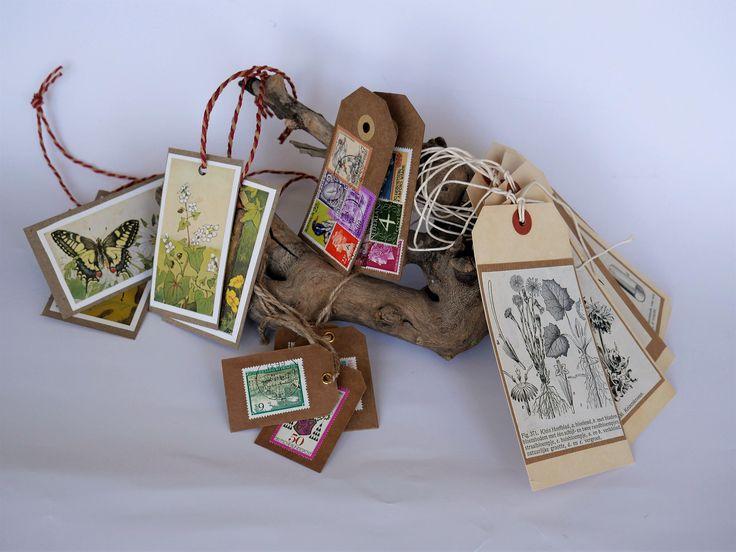 Cadeau labels gemaakt van papier en karton - bloemen, postzegels door poesenflip op Etsy