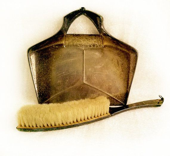 Crumb Tray And Brush / Table Dust Pan Set /Vintage Brass Table Butler