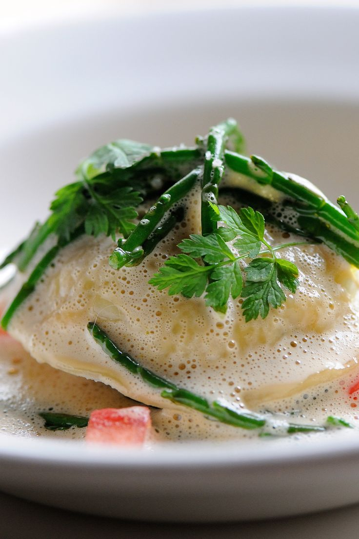 Dominic Chapman's elaborate crab ravioli recipe makes a tremendous main - especially apt for the spring and summer months. Concentrate on getting the homemade ravioli element of the recipe right and the rest will be relatively straightforward in this lovely shellfish recipe.