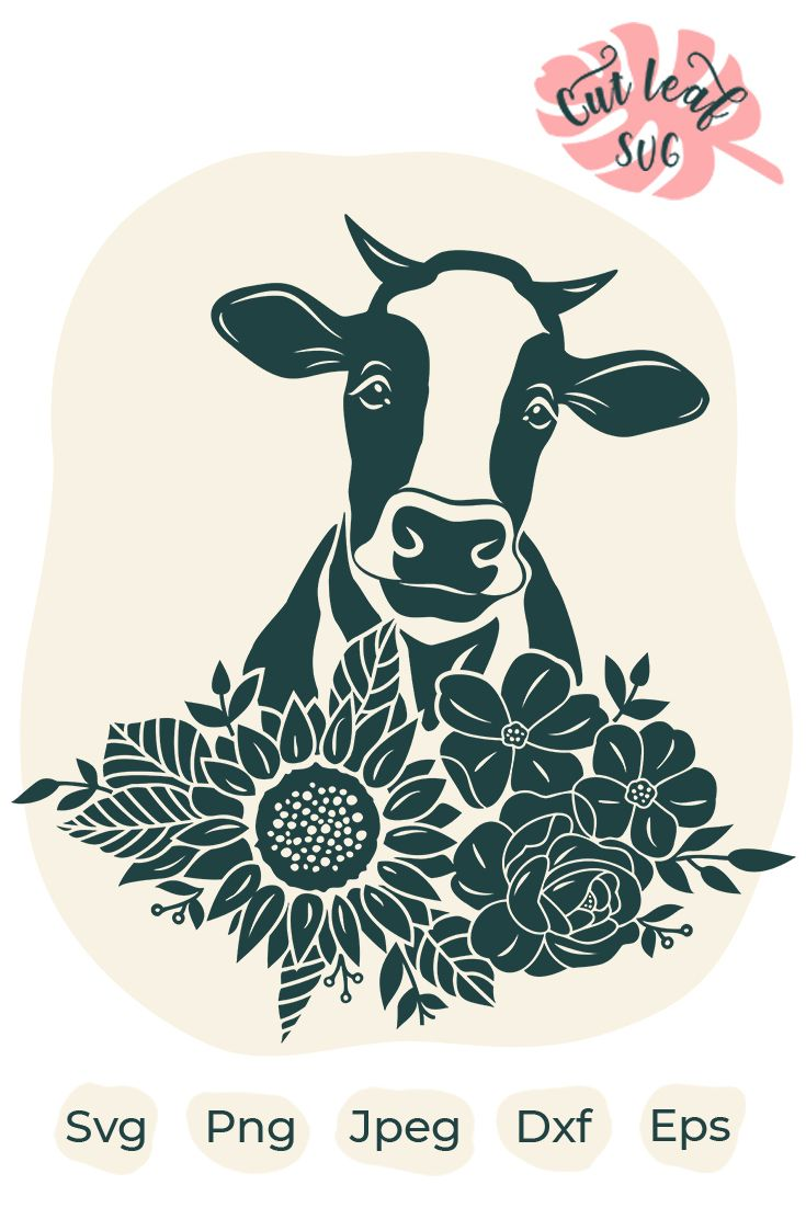Cute Cow Svg : Flower, Heifer, Floral, Face,, Clipart