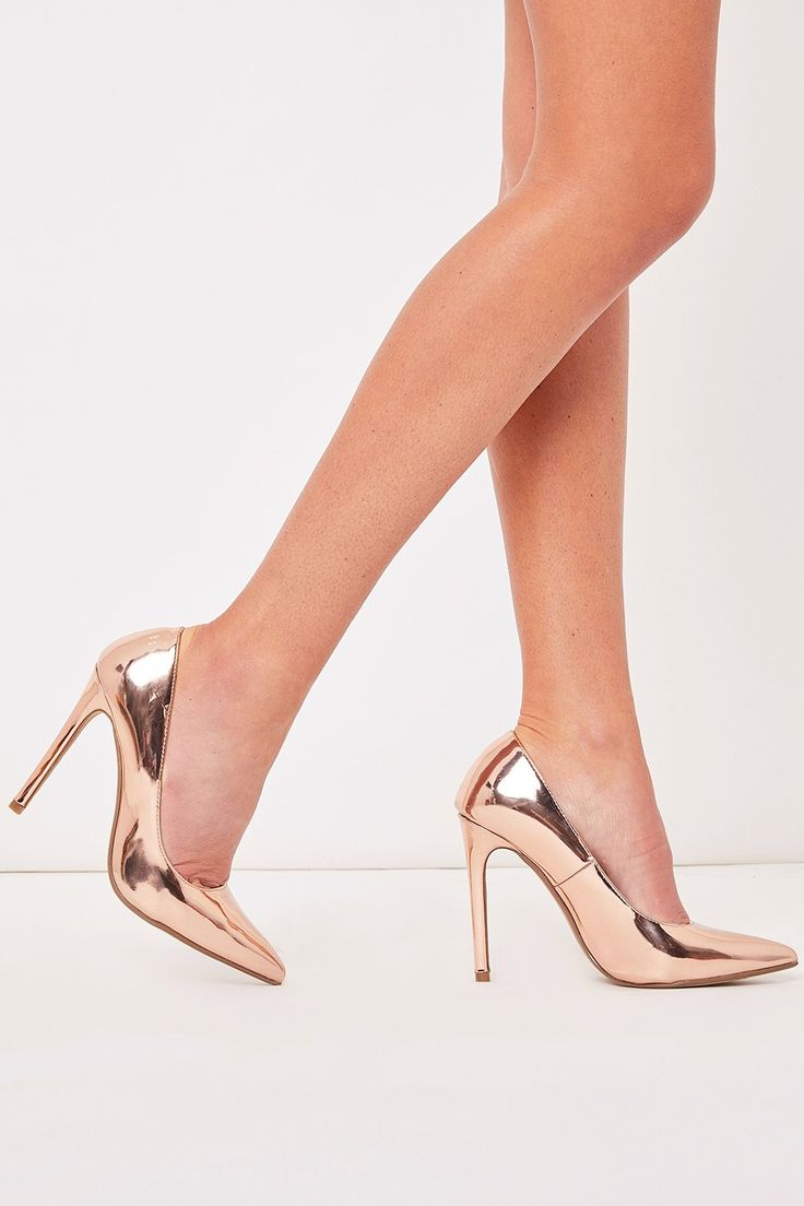 Faye Rose Gold Metallic Court Shoe Heels