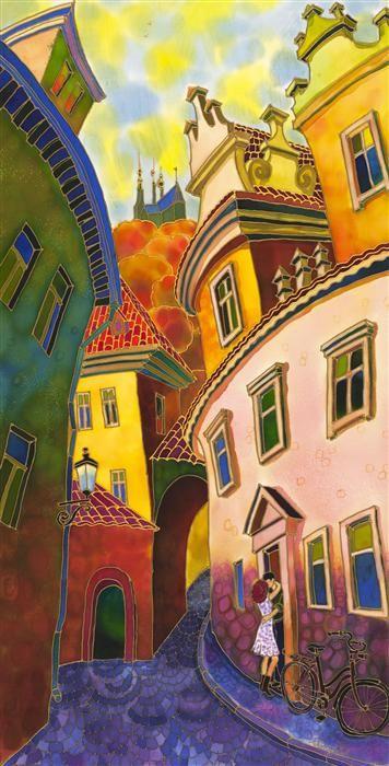 "UGallery.com | Last Ray of Sun, Old Street Prague by Yelena Sidorova | mixed media artwork | 40"" h x 20"" w"