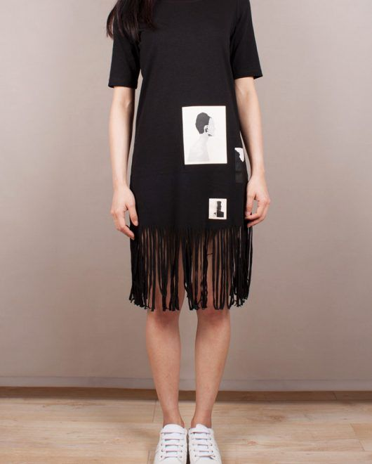 T-shirt dress with fringe