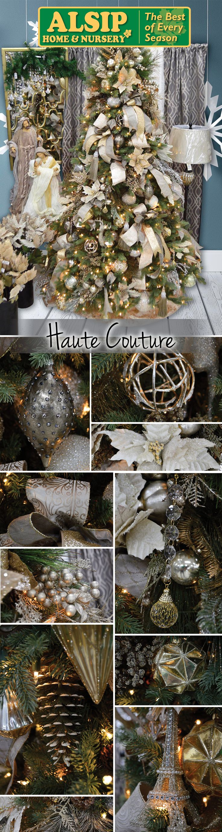 """Haute Couture 2017 WOW! The """"Haute Couture"""" tree overwhelms with an immaculate display of gold and white decorations. The stunning combination of ribbons and ornaments makes this tree live up to its name."""