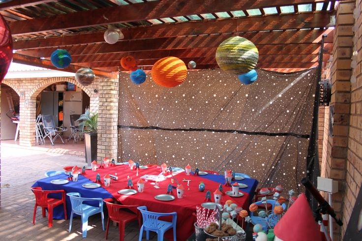 Space/Rocket Ship/Astronaut Party. Planets were made from Chinese lanterns and a stars back drop added to create the feeling that they were in space.
