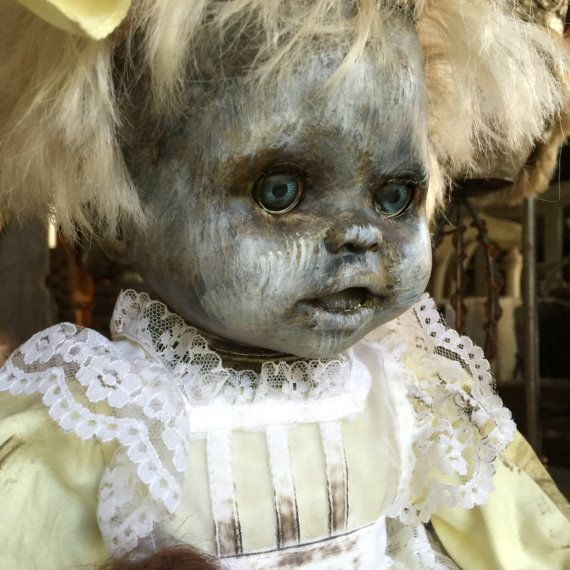 Creepy baby doll halloween decor and hand painted  scary baby doll