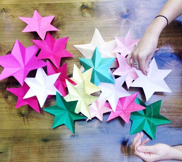 diy estrellas de papel 3d