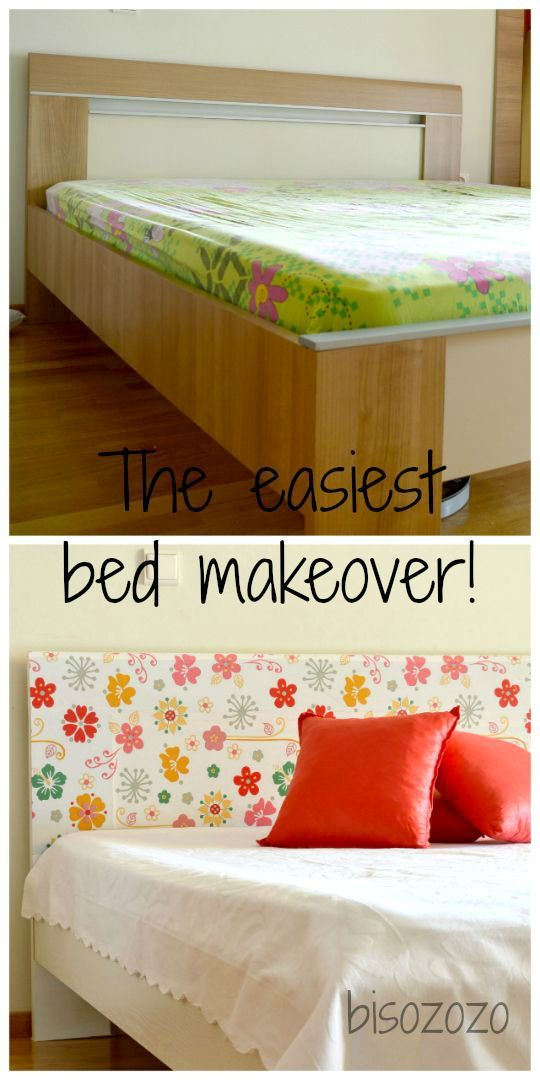 Easy Bed Makeover Using Contact Paper