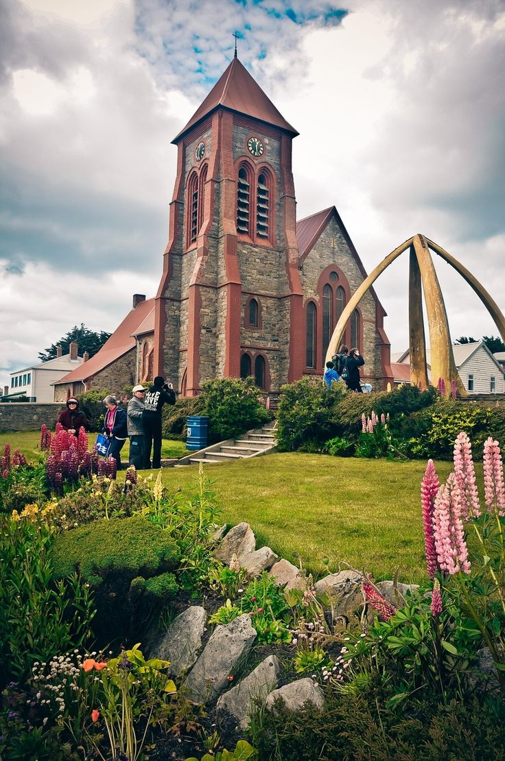 Stanley Christ Church cathedral with a large archway made from the jawbones of a Blue Whale Anglican Church, Falkland Islands