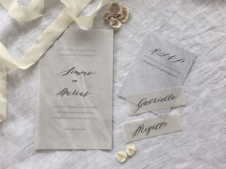 Marble wedding invitations symbolise strength in a marriage and this suite is strong but also soft with vellum paper accents. A combination of calligraphy and modern text makes it edgy and industrial.