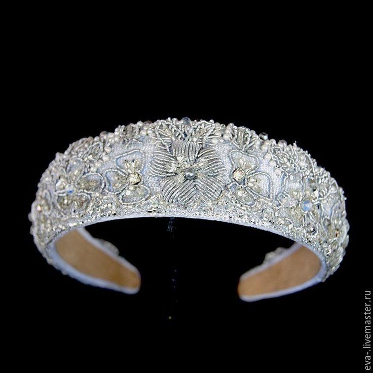 Купить Свадебный ободок Имерина - серебряный, авторская ручная работа, дизайнерские украшения, вышивка