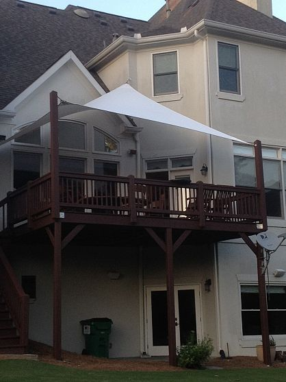 Privacy shade on our deck, extend upright posts, attach sail shade ::: privacy screening, hard material