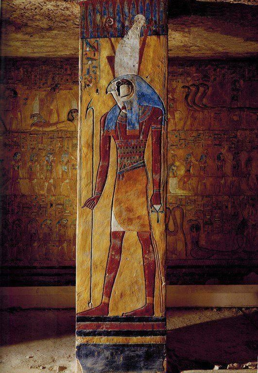 The Egyptian God Horus on a pillar in the tomb of Tausert and Sethnakht. Valley of the kings