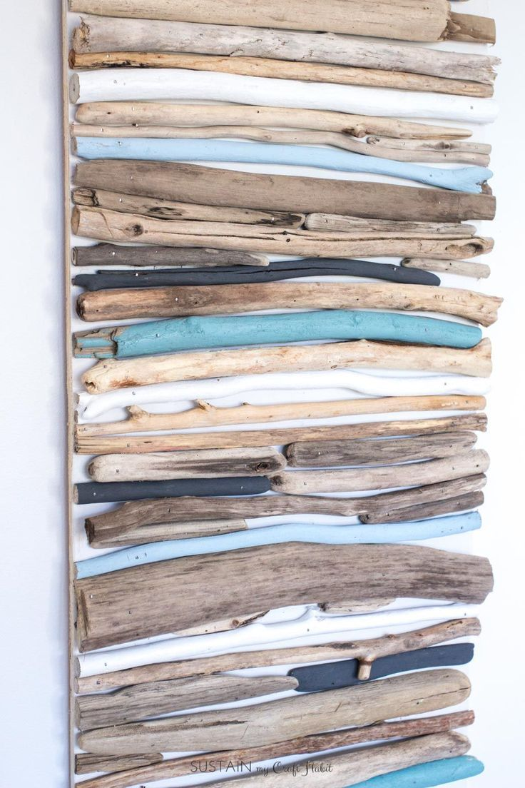 DIY Coastal Decor – Arte da parede de madeira lançada à costa pintada   – Sea Glass/Driftwood/Beach Stones/and Shells