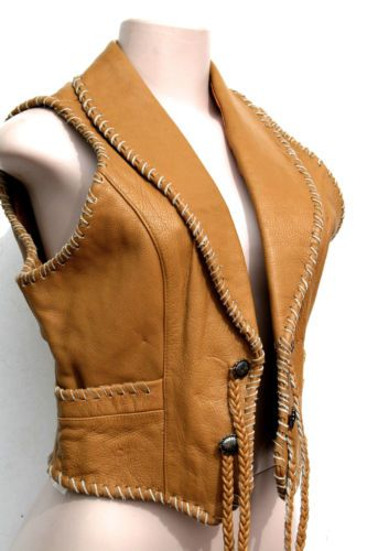 Vintage Women's Pioneer Wear Thick Leather Southwest Western Vest Sz Medium | eBay