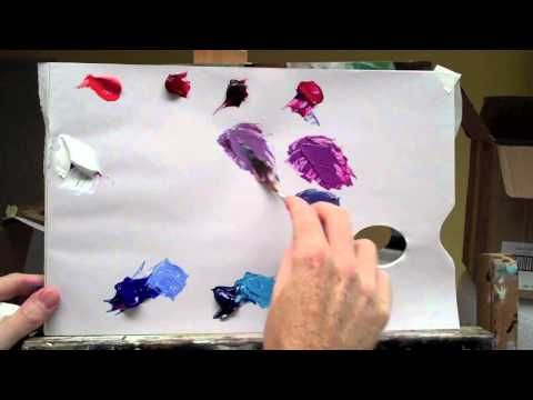 http://www.willkempartschool.com | colour mixing with acrylic paint. Learn how to mix the perfect bright purple with acrylic paint colours with professional artist Will Kemp.    Basic colour mixing with acrylic paints to learn about complementary color, colour wheel and colour theory.    Colour used: Titanium White  Cadmium Red Light  Permanent Alizar...