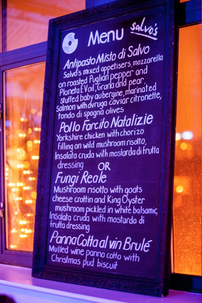 Our delicious beatfood menu by Salvo's, Leeds  http://www.salvos.co.uk. Blackboard made from an old painting recycled